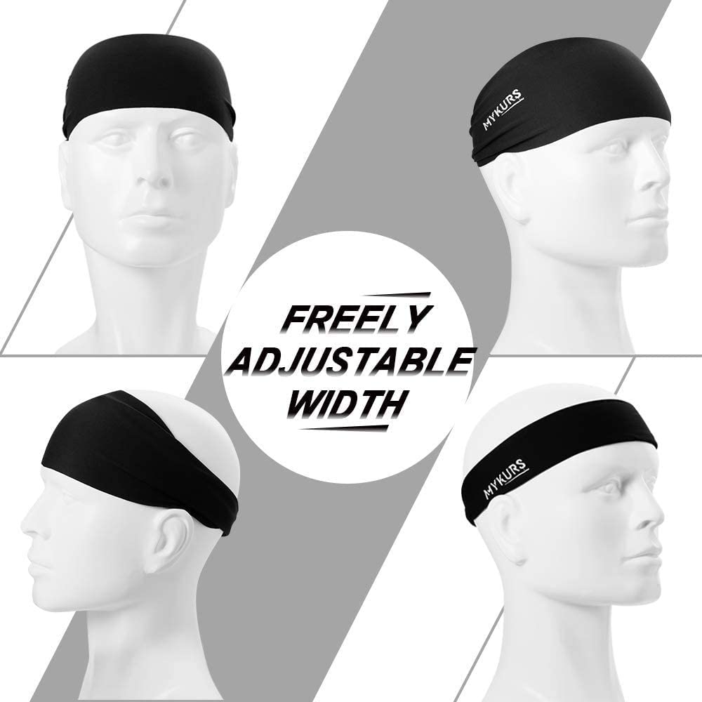 Black and Green Mens Wicking Workout Sports Yoga Running Headband MYKURS 4 Pack Headband for Men and Women