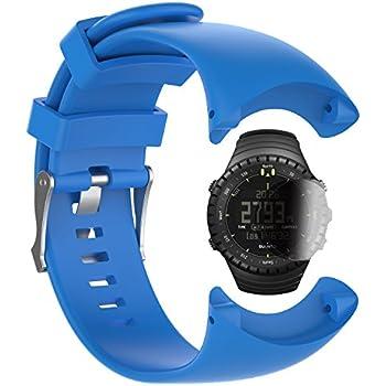 TUSITA Replacement Silicone Strap WristBand Accessory for Suunto Core All Black Military with Screen Protector(Blue)