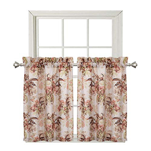 (Home Queen Faux Linen Classical Print Curtains for Small Window, Short Noble Rod Pocket Tier Kitchen Curtains, Café Drapes, 2 Panels, 29 W X 39 L Inch Each, Peonies)