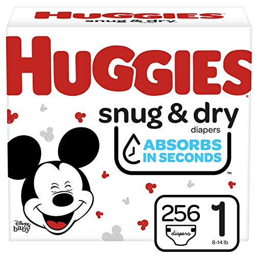 Huggies Snug & Dry Baby Diapers, Size 1, 256 Ct, 1 (256 Count), White