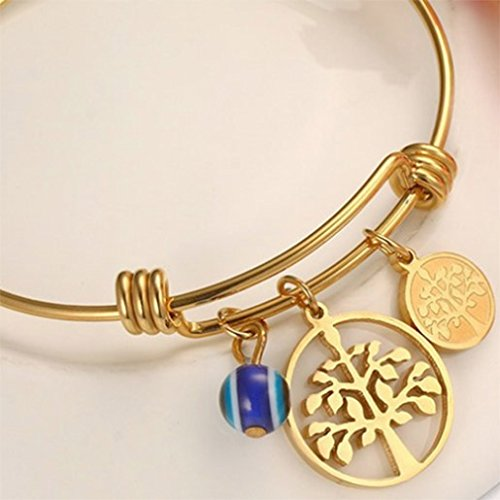 Menoa Bangle Bracelet Unique Polished Tree of Life Gold Plated Stainless Steel Lover Mom Gift