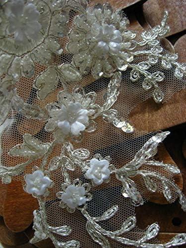 Beaded Bridal Headpiece Flower Applique Bridal lace Applique dzdh009 1PC Lace Craft Silver Bridal Applique Alencon Lace Applique