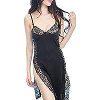 bluespace pijamas de mujer sexy encaje lengerie Side Split Vestido mancha Nightdress Deep V cuello camisón
