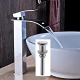 Votamuta Single Lever Bathroom Waterfall Spout Tall Body Basin Sink Faucet One Handle Hole Countertop Mixer Tap with Pop Up Drain,Chrome