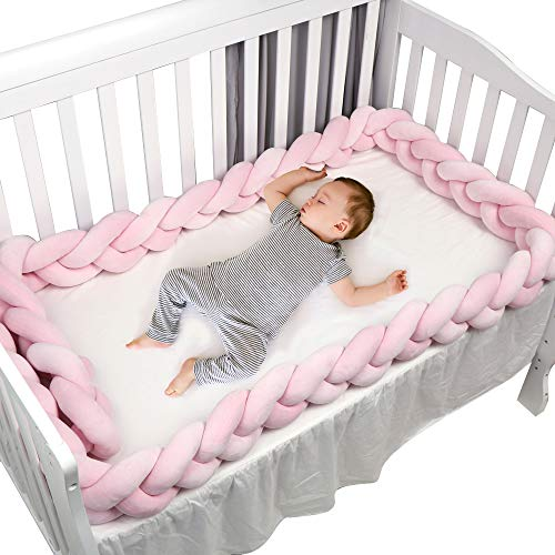 Braided Crib Bumper Pink Guards Baby Braided Knot Crib Bumper Liner Multifunctional Leg Pillow Stroller Cushion (Gray, 4 Meters/158 Inch) (Baby Bumpers For Cribs Pink)