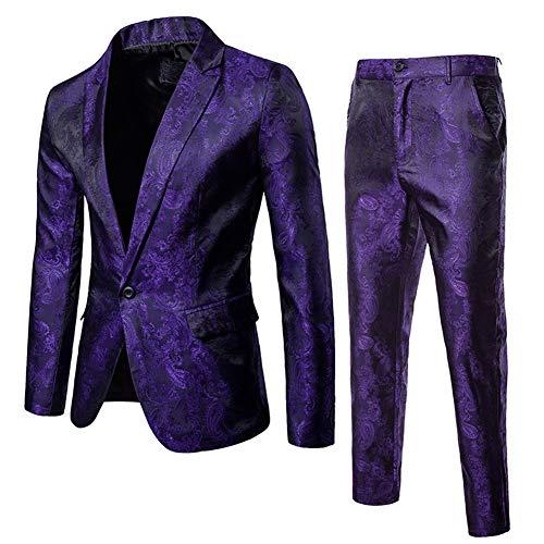 Purple Print Pant Set - Mens 2 Piece Paisley Dress Suit One Button Party Wedding Blazer Pants Sets Purple