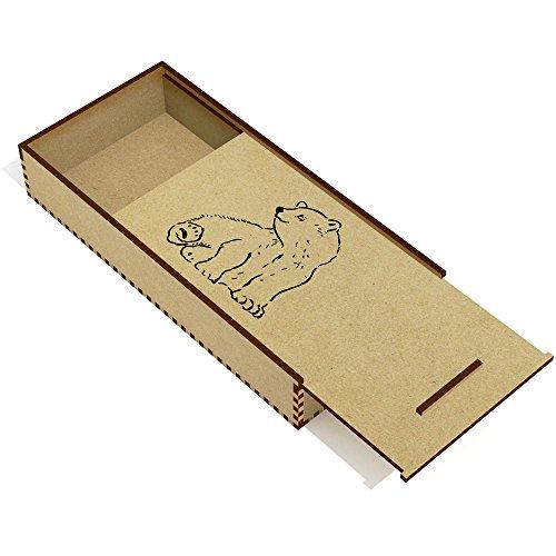 Wooden Polar Bear - Azeeda 'Sitting Polar Bears' Wooden Pencil Case / Slide Top Box (PC00004834)