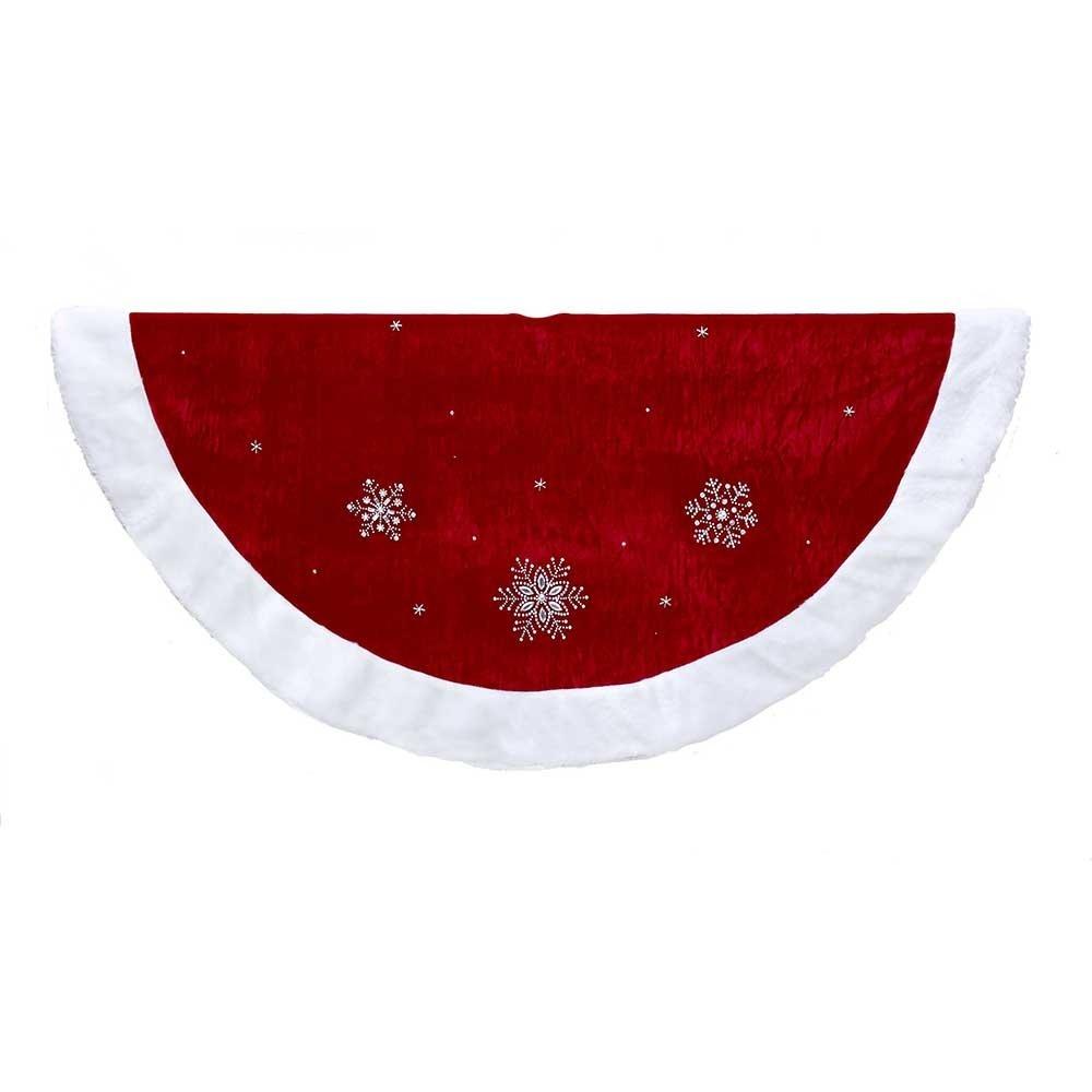 Kurt Adler Red Snowflakes with Border Tree Skirt, 48''