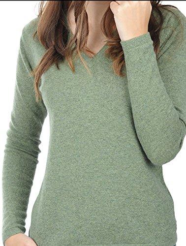 Balldiri 100% Cashmere Kaschmir Damen Pullover 2-fädig V-Ausschnitt grün meliert L