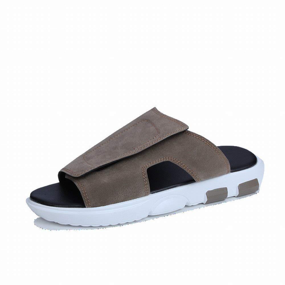 Khaki Fuxitoggo Fashion Breathable Leather Sandals Comfort Casual Men's Slippers Beach Sandals (color   Black, Size   42)