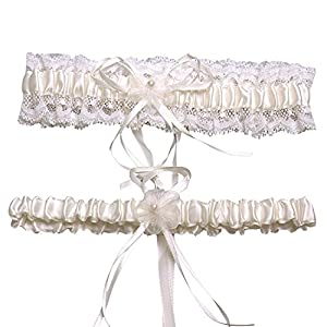 Lafee Bridal Lace Wedding Garter 2-piece Set Pearl Adjust Garter with Bowknot Ivory