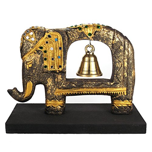 AeraVida Royal Gold-Tone Elephant Sculpture Rain Tree Wooden Brass Bell Glass