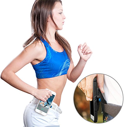 DYtesa Universal running Belt Phone Holder Gym Sports Belt Waist Clip Magnet and Buckle Lock QuickMount Suit For iPhone 7 6/6s Plus, Galaxy S6 S7 Edge,Note 5 4 3 All Kinds of Phones