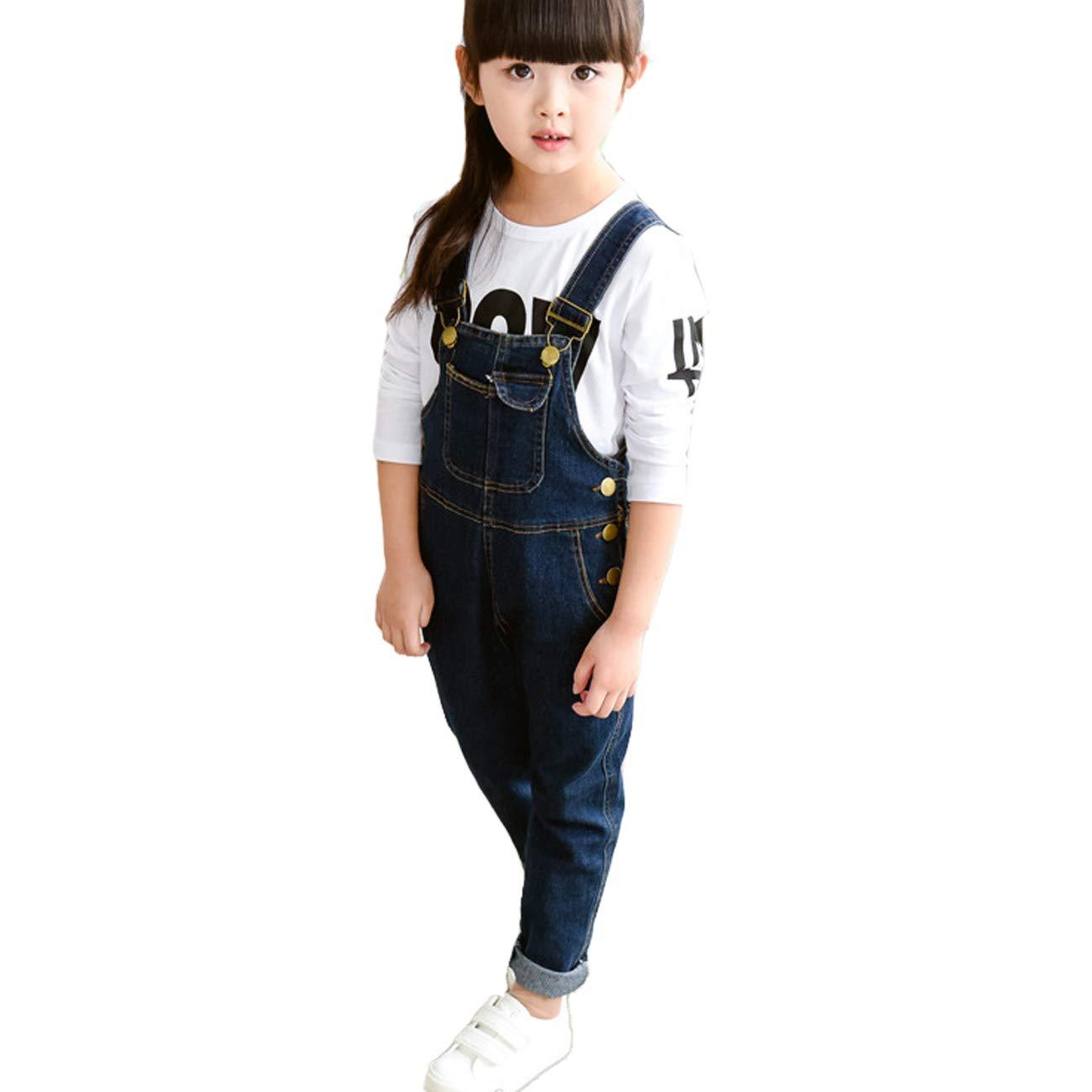 OnlyAngel Girls Adjustable Straps Suspender Bib Jeans Casual Denim Overalls Age 4-13 Years