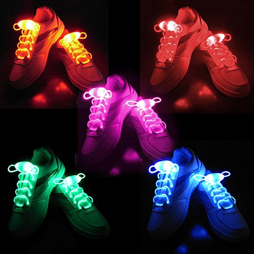 Adult Light Up Shoes (2win2buy 5 Pairs Waterproof Luminous LED Shoelaces Fashion Light Up Casual Sneaker Shoe Laces Disco Party Night Glowing Shoe Strings)