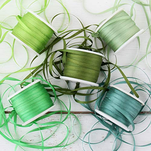 Threadart 2mm Silk Ribbon Set - Green Shades - Five Spool Collection - 100% Pure Silk Ribbon - 10m (11yd) Spools - 55 Yards of Ribbon ()