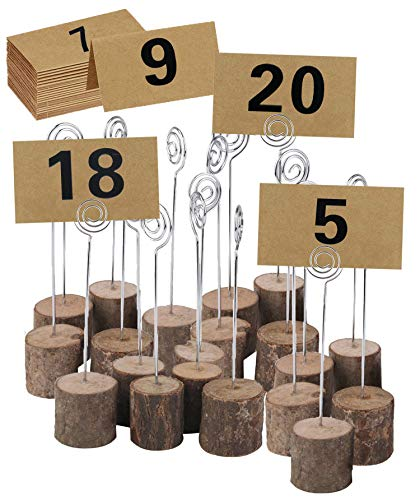 ECHI Wedding Table Card Holder, Real Wooden Base Photo Holder - Suit for Photo,Picture,Memo,Card,Business Card Clip (20PCS)
