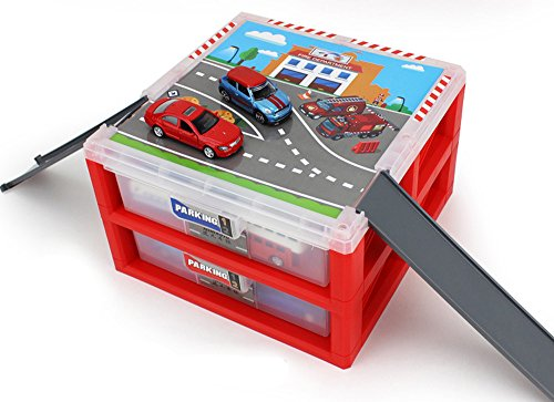 AITING Mini Parking Lot Vehicle storage box Toy Vehicle Garages Red