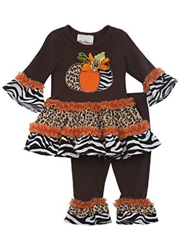 Rare Editions Girls Harvest Pumpkin Fall Dress Leggings Outfit , Brown , 12M