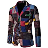 Domple Mens Long Sleeve African Dashiki Tuxedo Blazer Jacket Sport Coat Aspic US XL