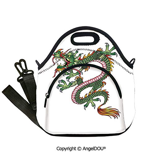 AngelDOU Japanese Dragon Fashion shoulder Neoprene lunch bag Dangerous Fantasy Monster Year of the Dragon Theme Symbolic Artsy for Office School Travel Picnic Beach Party Use.12.6x12.6x6.3(inch)]()