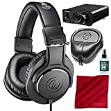 Audio-Technica ATH-M20x Professional Monitor Headphones and Amplifier + Case + Cleaner + Fibertique Cloth Bundle