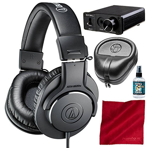 Audio-Technica ATH-M20x Professional Monitor Headphones and Amplifier + Case + Cleaner + Fibertique Cloth Bundle by Photo Savings