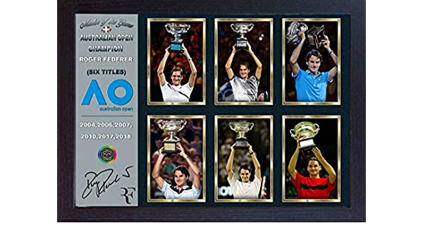 Roger Federer signed photo print picture Australian Open 2018 SIX TITLES Framed