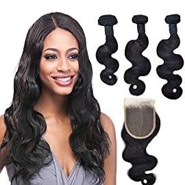 Brazilian Virgin Hair 3 Bundles With 4X4inch Free Part Lace Closure 100% Unprocessed Virgin Human Hair Extensions Natural Color (12 14 16+12)
