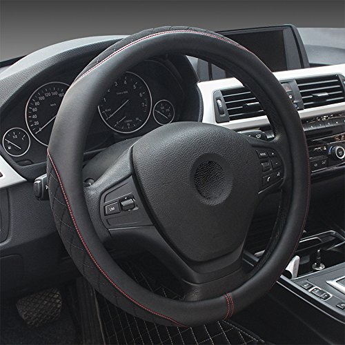 Steering Wheel Cover - Microfiber Leather Odorless Universal 15 inch Automotive interior Accessories Auto Car (Black) (Ravens Steering Wheel Cover)