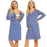 Ekouaer Women's Button up Breastfeeding Nursing Maternity Dress Sleepwear with Pockets (Royal Blue M)