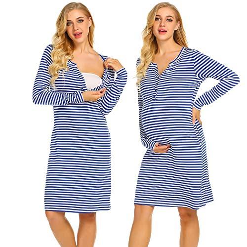 Ekouaer Women's Button up Breastfeeding Nursing Maternity Dress Sleepwear with Pockets (Royal Blue M) by Ekouaer (Image #7)'