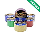 Red Glitter Tape, Color Sparkle Glitter Crafting Tape 1.88 In X 3 Yard-box Of 36