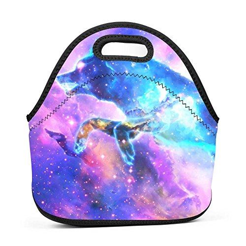 Purple Starlit Wolf Women Lunch Bag Multi-Purpose Food Container Lunch Box Portable Zipper Bag Handbag for ()