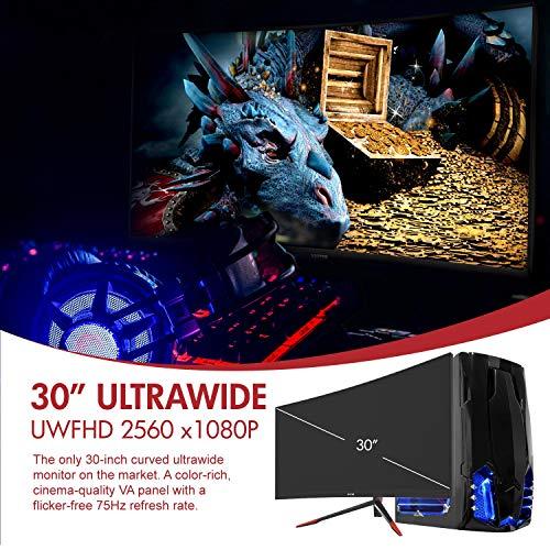 Viotek GN30CB 30-Inch Curved Gaming Monitor w FreeSync, 75Hz Ultrawide 21 9  2560x1080p, HDMI DP VESA, FPS RTS GamePlus