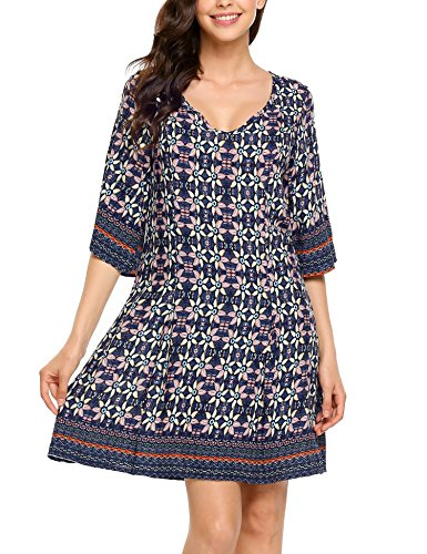Boho-Chic Vacation & Fall Looks - Standard & Plus Size Styless - Zeagoo Women Bohemian Floral Print Loose 3 4 Sleeve Shift Tunic Dress Navy Blue1 L