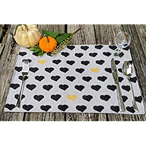 DaDa Bedding Woven Festive Placemats – Set of 4 Tapestry Cotton Linen Dining Table Mats – 13″ x 19″