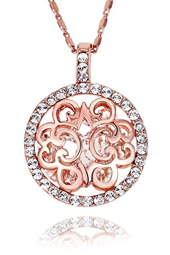 FAPPAC Filigree Filled Pendant Necklace Enriched with Swarovski Crystals