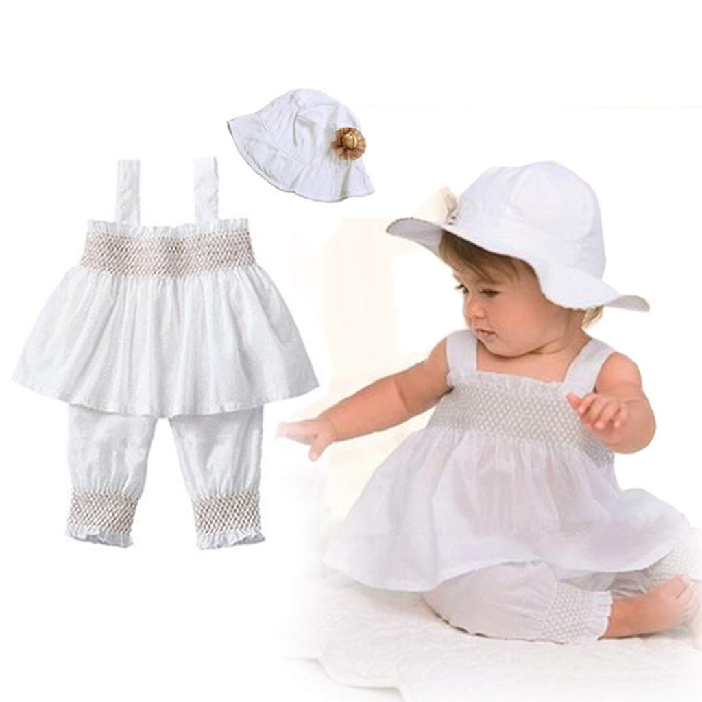 df5a36d92 Amazon.com: Baby Toddler Girl Outfits Sleevesless Ruffle Vest Tops Dress+Pant  +Ruffle Hat Clothes Set Outfit: Clothing