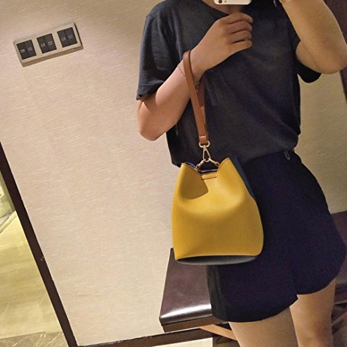 Bucket Wide Yellow Patchwork Yellow Shoulder Women Leather Fashion Middle Handbag Crossbody Bag cP8fABRPqW