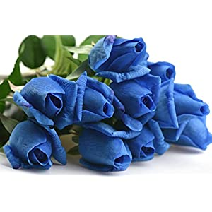 FiveSeasonStuff 10 Stems of Real Touch Silk Roses 'Petals Feel and Look like Fresh Roses' Artificial Flower Bouquet for Wedding Bridal Office Party Home Decor 81