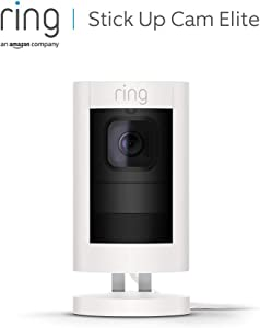 Ring Stick Up Cam Elite, HD-beveiligingscamera met tweeweg-audio, wit