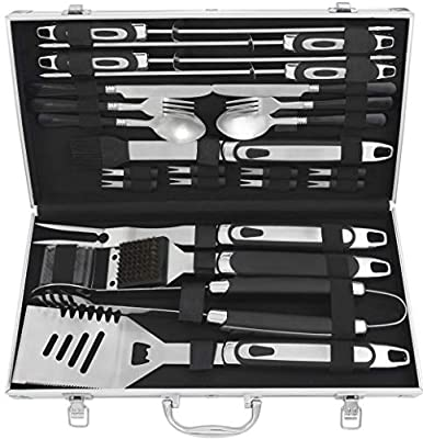 grilljoy 24pcs BBQ Tool Set with Aluminum case and 7pcs BBQ Griddle Tool Set