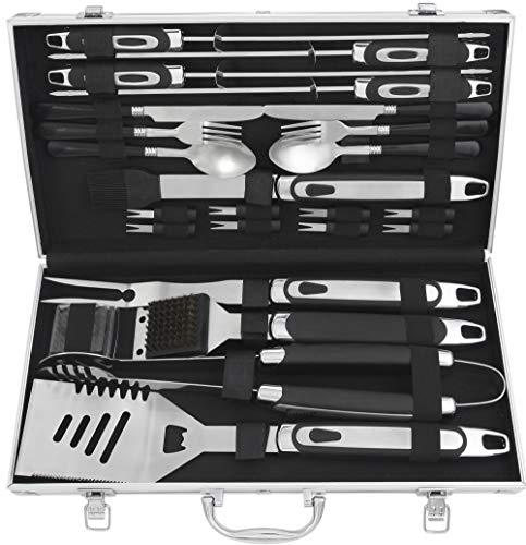Professional Tool Box Aluminum (grilljoy Birthday Gift with Wrapping Box for Men Women - 25pc Professional BBQ Grill Accessories Set with Aluminum Case - Stainless Steel BBQ Tool Set with Non-Slip Handle for Camping)