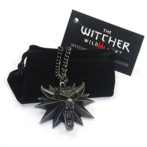 kinrika The Witcher 3 Wild Hunt Wolf Head Medallion Necklace for Men with 19inch Chain