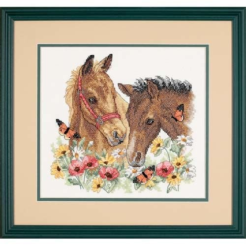 Dimensions 'Horse Friends' Stamped Cross Stitch Kit, 12'' W x 11'' - Stitch Stamped Cross Dimensions