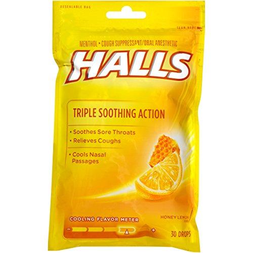 HALLS Cough Drops, Honey-Lemon, 30 - Action Vapor Honey