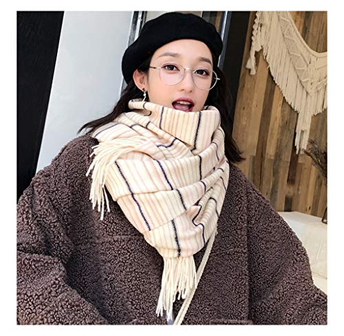HATHOR-23 Scarf Women's New Scarf Thicken Scarf Imitation Cashmere Stripe Scarf Warm Scarf Shawl Scarf Big Plaid Scarf (Color : E)