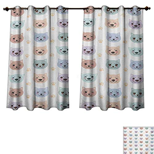 RuppertTextile Cat Bedroom Thermal Blackout Curtains Smiley Cat Muzzle and Paw Prints Pattern on Cartoon Animal Themed Kitty Kids Nursery Drapes for Living Room Multicolor W55 x L63 inch