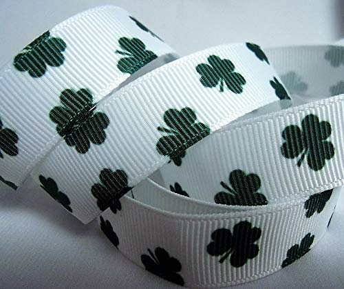 5/8 Scrapbooking Bows Ribbon - Grosgrain Ribbon - Little Shamrock Print - 5/8